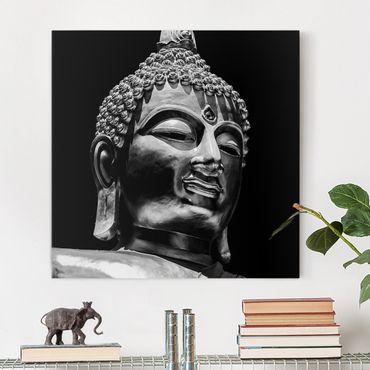 Leinwandbild - Buddha Statue Gesicht - Quadrat 1:1