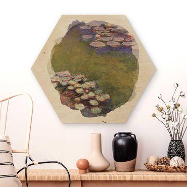 Hexagon Bild Holz - Wasserfarben - Claude Monet - Seerosen