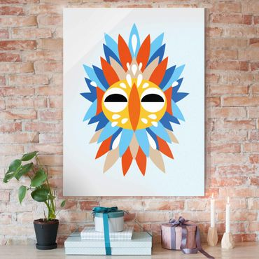 Glasbild - Collage Ethno Maske - Papagei - Hochformat 4:3