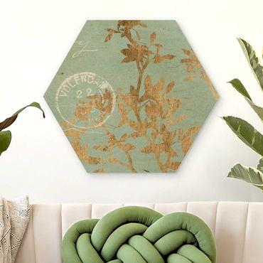Hexagon Bild Holz - Goldene Blätter auf Turquoise II