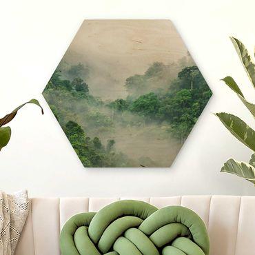 Hexagon Bild Holz - Dschungel im Nebel