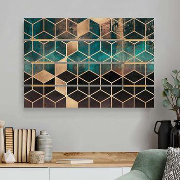 Holzbild - Elisabeth Fredriksson - Türkis Rosé goldene Geometrie - Querformat 2:3