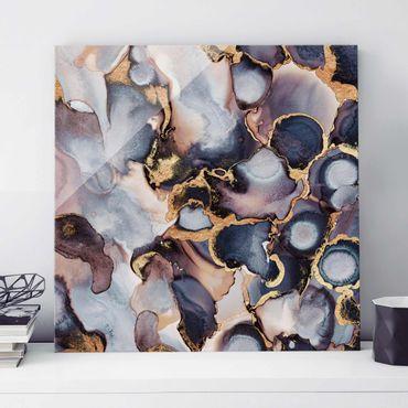 Glasbild - Marmor Aquarell mit Gold - Quadrat 1:1
