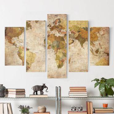 Leinwandbild 5-teilig - Weltkarte