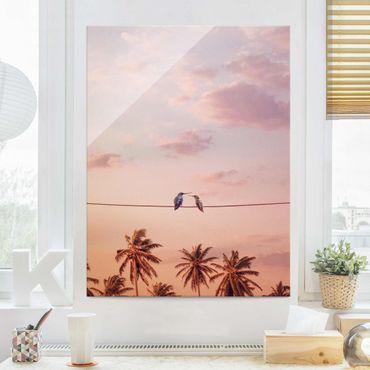 Glasbild - Jonas Loose - Sonnenuntergang mit Kolibris - Hochformat 4:3