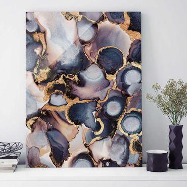 Glasbild - Marmor Aquarell mit Gold - Hochformat 4:3