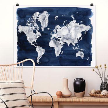 Poster - Wasser-Weltkarte dunkel - Querformat 3:4