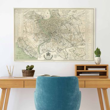 Leinwandbild - Vintage Stadtplan Rom Antik - Querformat 2:3