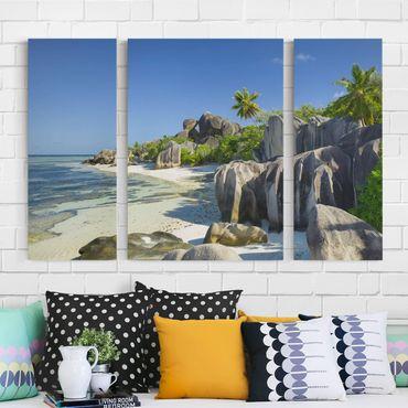 Leinwandbild 3-teilig - Traumstrand Seychellen - Triptychon