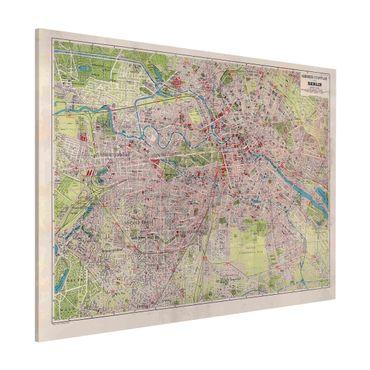 Magnettafel - Vintage Stadtplan Berlin - Memoboard Querformat 3:4