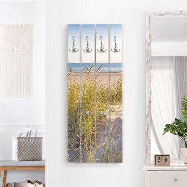Wandgarderobe Holz - Stranddüne am Meer - Haken chrom Hochformat