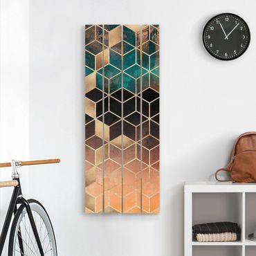 Holzbild - Elisabeth Fredriksson - Türkis Rosé goldene Geometrie - Hochformat 5:2