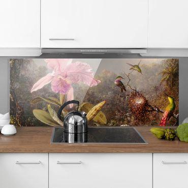 Spritzschutz Glas - Martin Johnson Heade - Orchidee und drei Kolibris - Panorama - 5:2