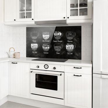 Spritzschutz Glas - Kaffeesorten Kreidetafel - Querformat - 2:1