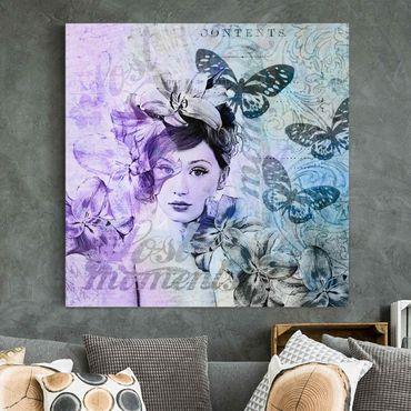Leinwandbild - Shabby Chic Collage - Portrait mit Schmetterlingen - Quadrat 1:1
