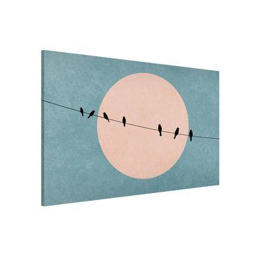 Magnettafel - Vögel vor rosa Sonne I - Memoboard Querformat 2:3