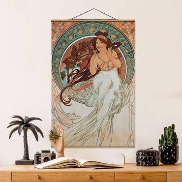 Stoffbild mit Posterleisten - Alfons Mucha - Vier Künste - Die Musik - Hochformat 3:2