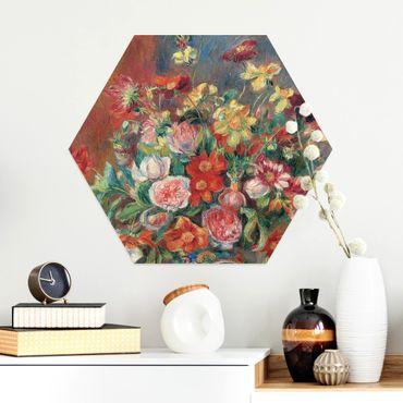 Hexagon Bild Alu-Dibond - Auguste Renoir - Blumenvase