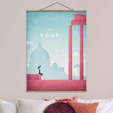 Stoffbild mit Posterleisten - Reiseposter - Rom - Hochformat 4:3