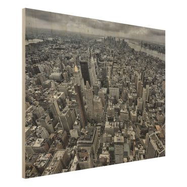 Holzbild - Blick über Manhattan - Querformat 3:4