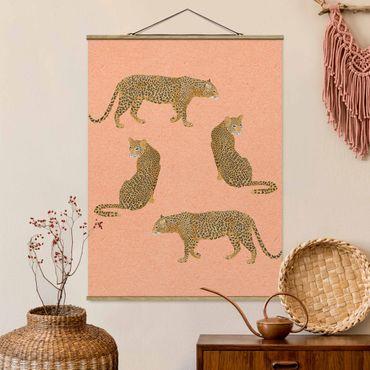 Stoffbild mit Posterleisten - Laura Graves - Illustration Leoparden Rosa Malerei - Hochformat 4:3