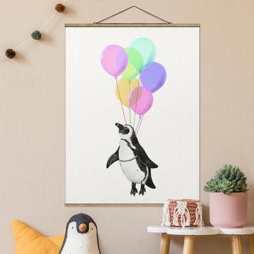 Stoffbild mit Posterleisten - Laura Graves - Illustration Pinguin Pastell Luftballons - Hochformat 4:3
