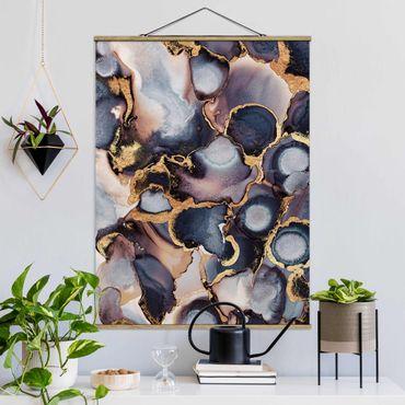 Stoffbild mit Posterleisten - Elisabeth Fredriksson - Marmor Aquarell mit Gold - Hochformat 4:3
