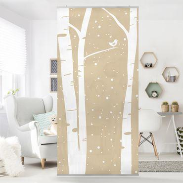 Raumteiler Kinderzimmer - Schneekonzert zwischen Birken 250x120cm