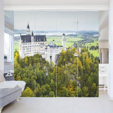 Schiebegardinen Set - Schloss Neuschwanenstein Panorama - Flächenvorhänge