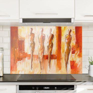 Spritzschutz Glas - Vier Figuren in Orange - Querformat - 3:2
