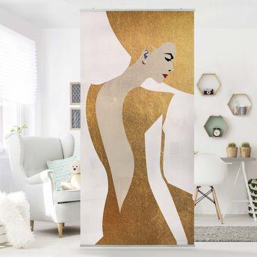 Raumteiler - Dame mit Hut in Gold - 250x120cm