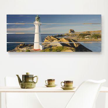 Holzbild - Castle Point Leuchtturm Neuseeland - Querformat 2:5