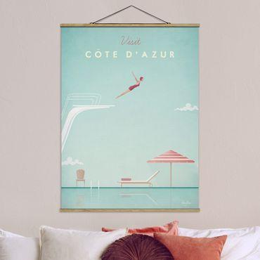 Stoffbild mit Posterleisten - Reiseposter - Côte d´Azur - Hochformat 4:3
