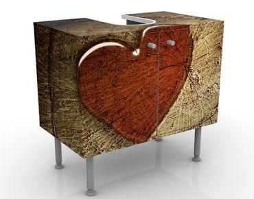 Waschbeckenunterschrank - Natural Love - Badschrank Braun Rot