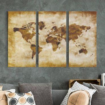 Leinwandbild 3-teilig - No.CG75 Map of the world - Hoch 1:2