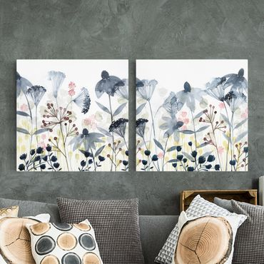 Leinwandbild 2-teilig - Wildblumen Aquarell Set I - Quadrate 1:1
