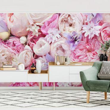 Fototapete - Shabby Rosen mit Glockenblumen