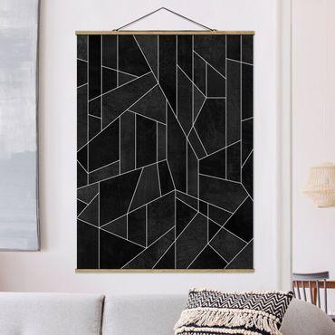 Stoffbild mit Posterleisten - Elisabeth Fredriksson - Schwarz Weiß Geometrie Aquarell - Hochformat 4:3