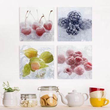 Leinwandbild 4-teilig - Gefrorene Früchte