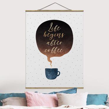 Stoffbild mit Posterleisten - Elisabeth Fredriksson - Life Begins After Coffee Punkte - Hochformat 4:3