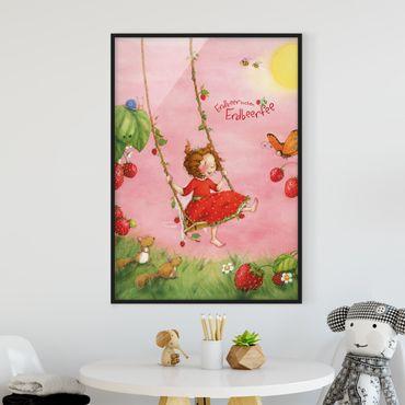 Bild mit Rahmen - Erdbeerinchen Erdbeerfee - Baumschaukel - Hochformat 3:4