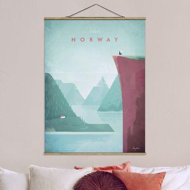 Stoffbild mit Posterleisten - Reiseposter - Norwegen - Hochformat 4:3