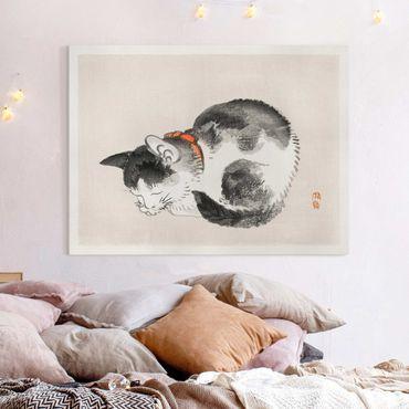 Leinwandbild - Asiatische Vintage Zeichnung Schlafende Katze - Querformat 3:4