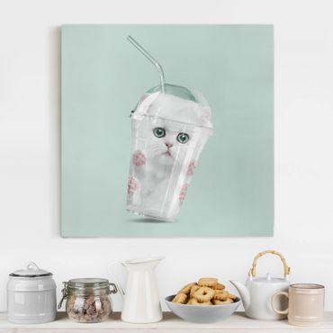 Leinwandbild - Jonas Loose - Shake mit Katze - Quadrat 1:1