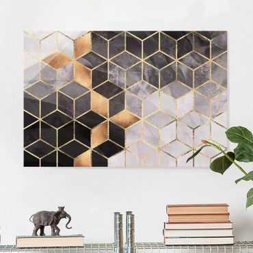 Glasbild - Schwarz Weiß goldene Geometrie - Querformat 2:3