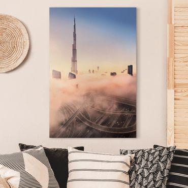 Leinwandbild - Himmlische Skyline von Dubai - Hochformat 3:2