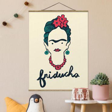 Stoffbild mit Posterleisten - Frida Kahlo - Friducha - Hochformat 4:3