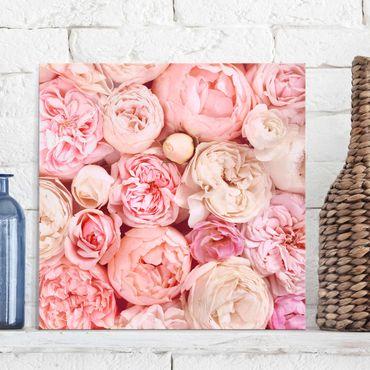 Glasbild - Rosen Rosé Koralle Shabby - Quadrat 1:1