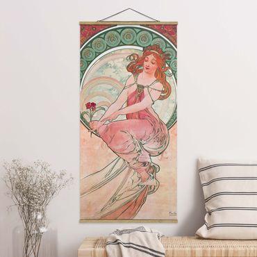 Stoffbild mit Posterleisten - Alfons Mucha - Vier Künste - Die Malerei - Hochformat 2:1