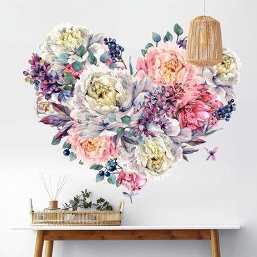 Wandtattoo - Aquarell Herz Blüten Bouquet XXL